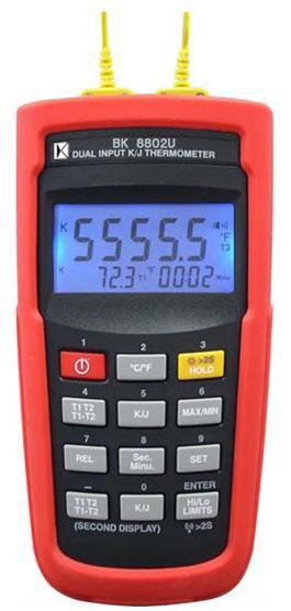 [温度计]K/J型双组输入温度计BK8802W